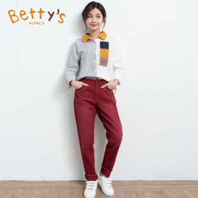 betty's貝蒂思 不修邊抽鬚質感長褲(暗紅色)