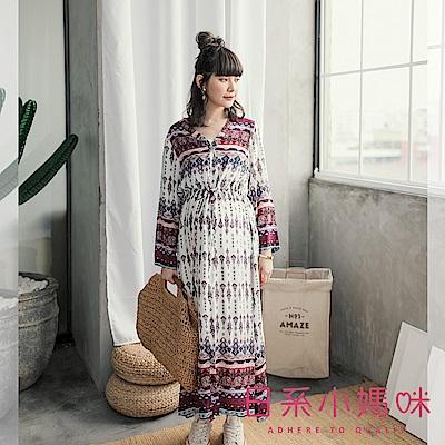 日系小媽咪孕婦裝-孕婦裝~異國風圖騰抽繩洋裝