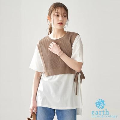 earth music 【SET ITEM】側綁結短版壓紋背心+素面圓領T恤