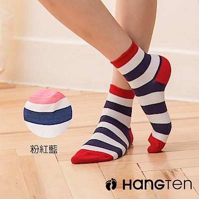 HANG TEN 寬條紋二分之一女襪2雙入組_粉紅藍(HT-022-49)