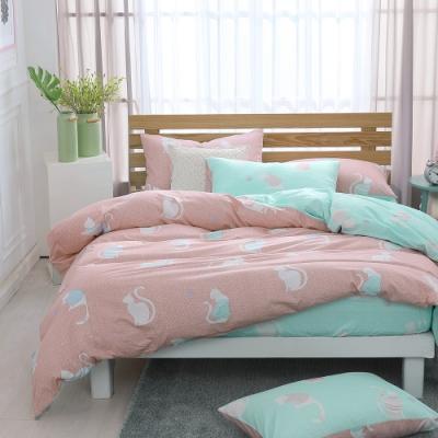鴻宇 100%精梳棉 躲貓貓 湖水藍 雙人加大四件式兩用被床包組