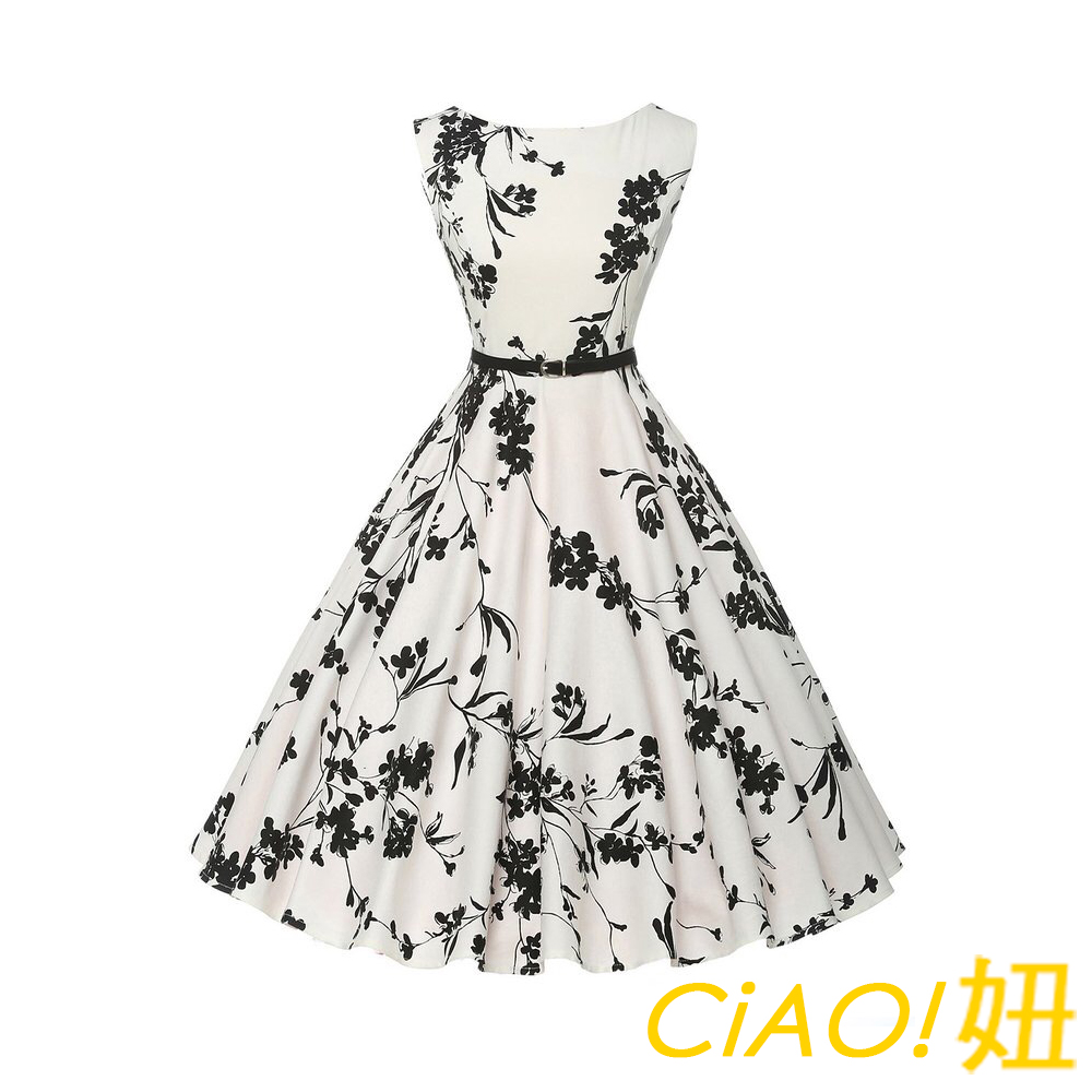赫本風附腰帶印花無袖連身裙 (花色)-CIAO妞
