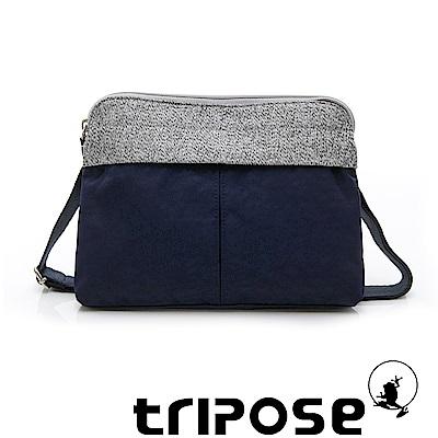 tripose 漫遊系列 岩紋x微皺尼龍貼身斜背包 深藍