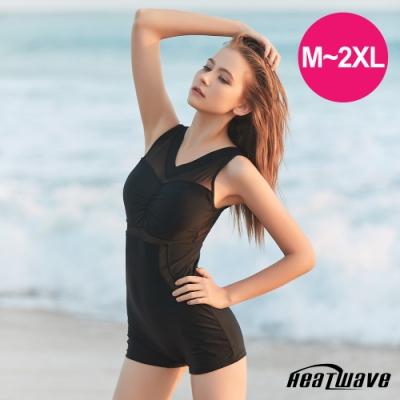 Heatwave熱浪 加大泳裝 萊克連身褲-純然黑成(M-2XL)