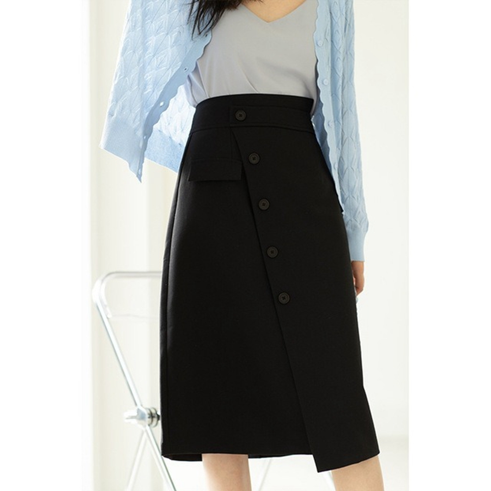 都會OL不規則開叉裙襬斜釦裝飾中裙S-L(共三色)-沐朵 product image 1
