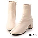 D+AF 秋冬定番.素面合腿中跟方頭襪靴*米白