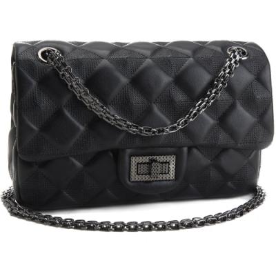 MOROM 美型風尚羊皮菱格鍊飾二用包-黑色