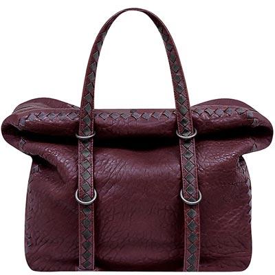 BOTTEGA VENETA 咖啡紅編織小羊皮波士頓包-大型