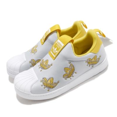 adidas 休閒鞋 Superstar 360 C 童鞋 愛迪達 三葉草 套入式 貝殼頭 灰 黃  FY2511