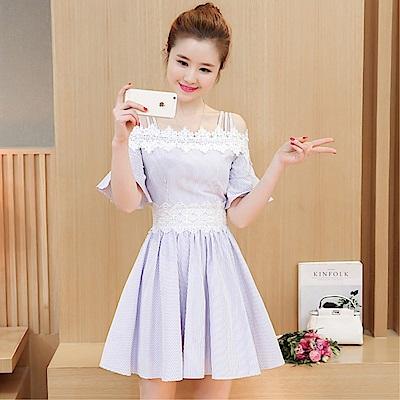 DABI 韓國風顯瘦傘袖性感吊帶一字領蕾絲拼接短袖洋裝