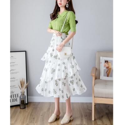 2F韓衣-簡約時尚小碎花印花荷葉邊造型裙-綠花-(F)