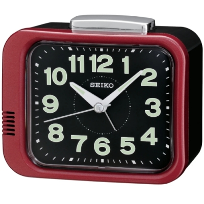 SEIKO 日本精工 夜光 滑動式秒針 響鈴鬧鐘(QHK028R)紅/9.4X11cm