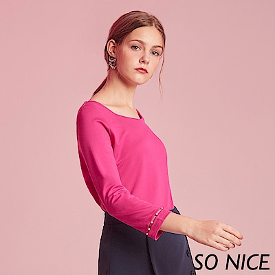 SO NICE優雅珍珠裝飾七分袖上衣