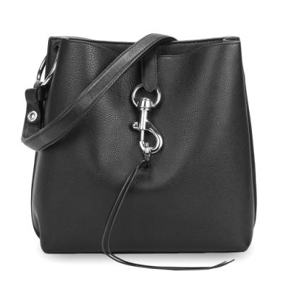 Rebecca Minkoff 質感皮革釦環裝飾肩背斜背兩用包-黑色