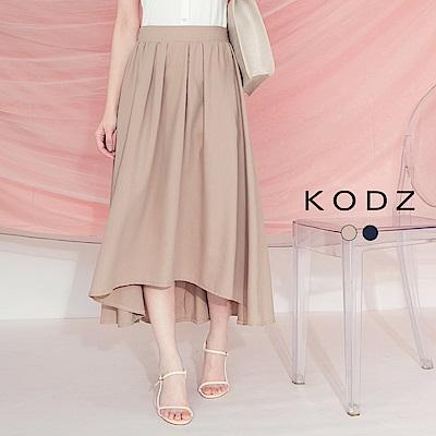 東京著衣-KODZ 優雅簡約打褶造型前短後長中長裙-S.M.L(共兩色)