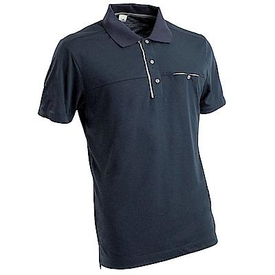 【EiDER】男排汗透氣有 機棉短袖POLO衫藍色