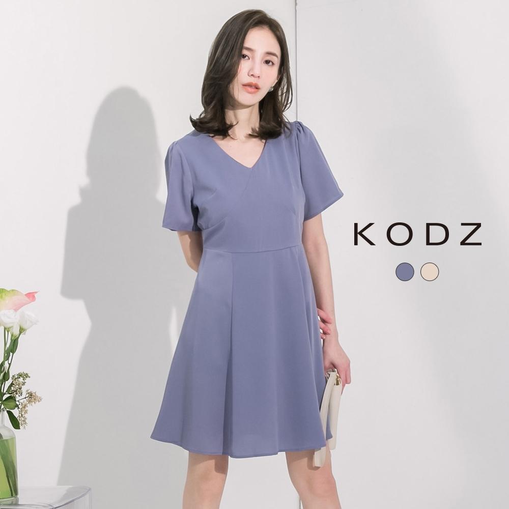 東京著衣-KODZ 經典復古小性感V領顯瘦洋裝-S.M.L(共二色)