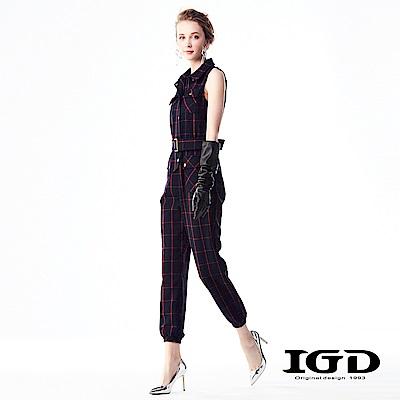 IGD英格麗 英倫大紅寬格紋無袖工裝連身褲