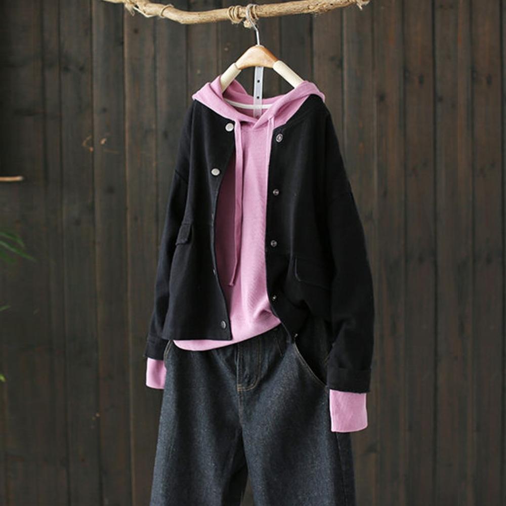 寬鬆薄版外套短版上衣長袖夾克-設計所在