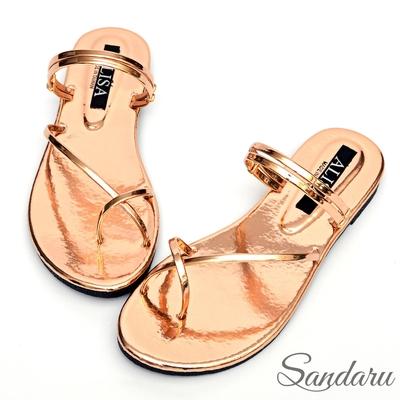 山打努SANDARU-涼鞋 超亮眼交叉夾腳兩穿平底拖鞋-金