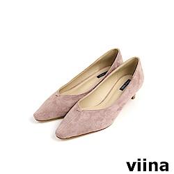 viina Basic 鞋頭剪接特殊跟型跟鞋 - 粉