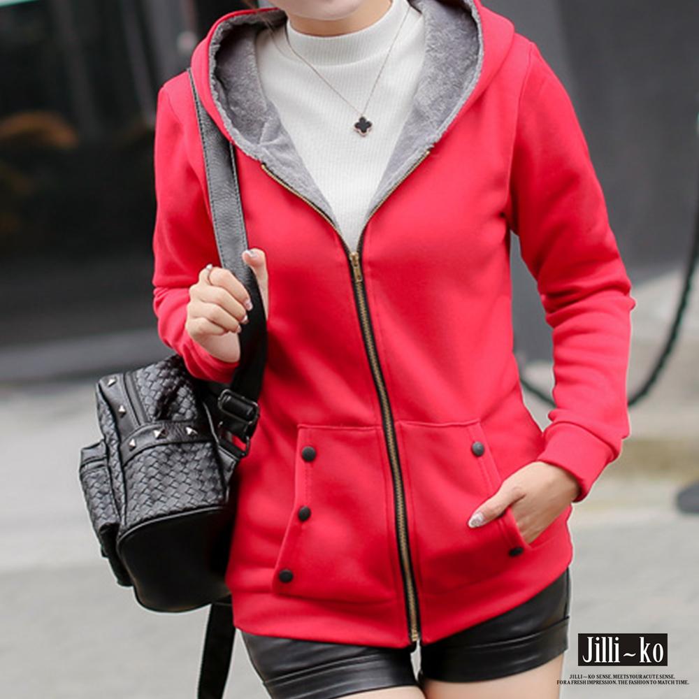 Jilli~ko 保暖加絨內膽衛衣外套-紅色