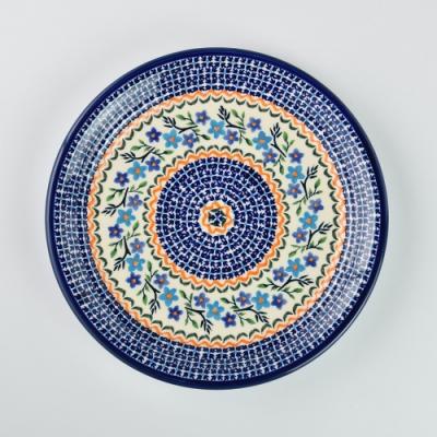 波蘭陶 藍花綠葉系列 圓形餐盤 25cm 波蘭手工製