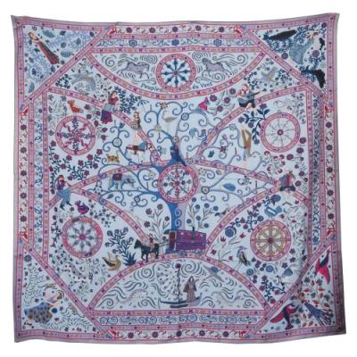 Hermes Peuple du Vent shawl 石風之人真絲披肩(紫/桃)