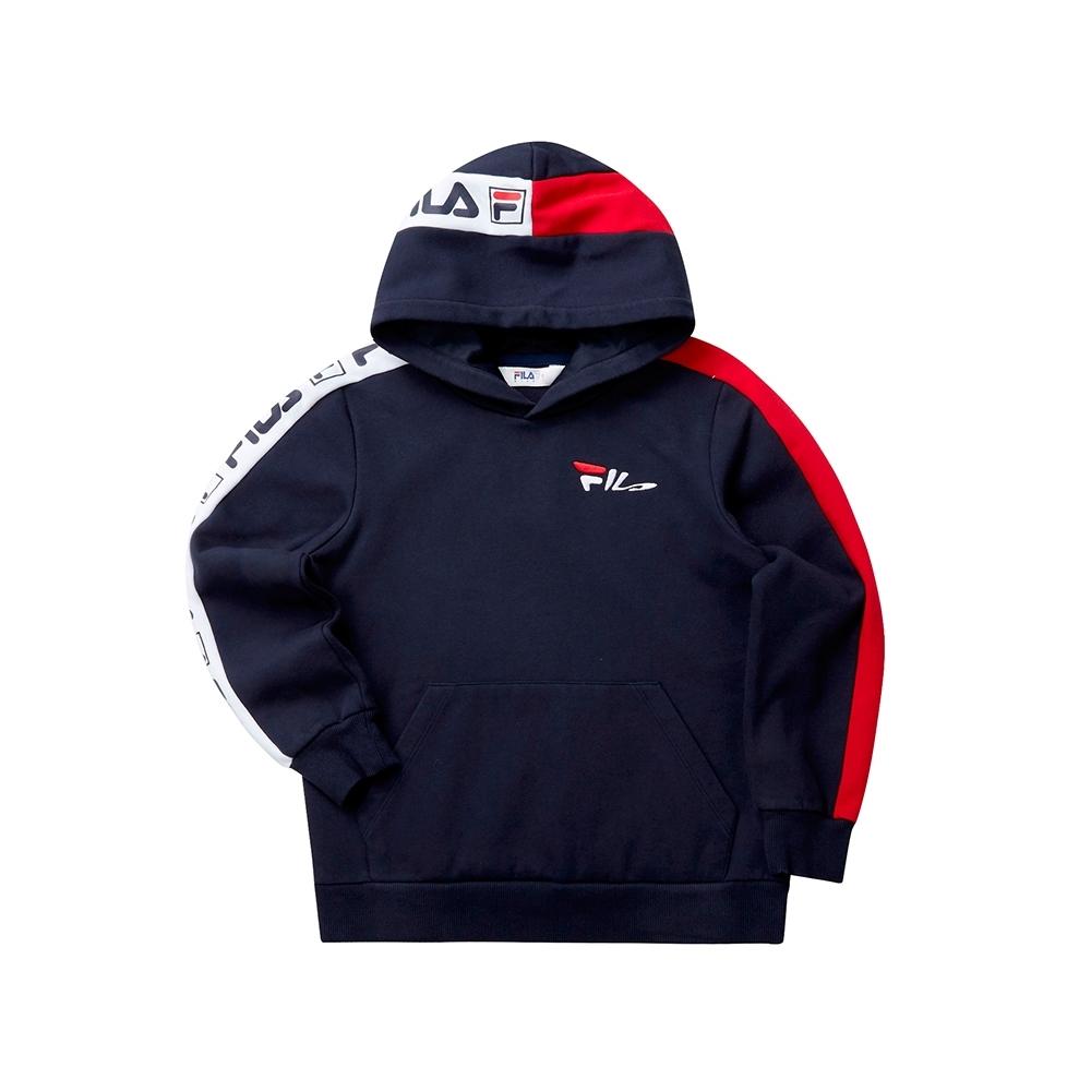 FILA KIDS 童長袖針織帽T恤-丈青 1TET-8438-NV