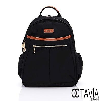 OCTAVIA 8 -生活家 日系多層次拉鍊口袋尼龍後背包 - 包容黑