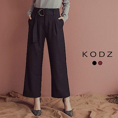 東京著衣-KODZ 韓國姊姊金屬釦環綁帶打褶西裝褲-S.M.L(共二色)