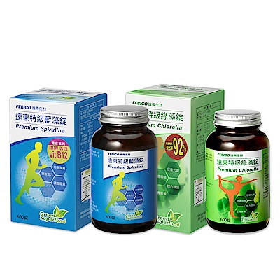 遠東生技 特級藍藻200mg*300錠+特級綠藻200mg*600錠