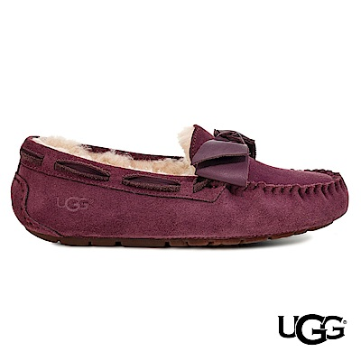 UGG女士 Dakota 絨毛皮革蝴蝶結樂福鞋