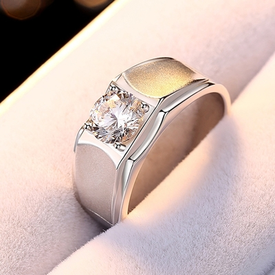 米蘭精品 莫桑鑽戒指925純銀開口戒-2克拉十心十箭噴沙聖誕節情人節生日禮物男飾品73yk1