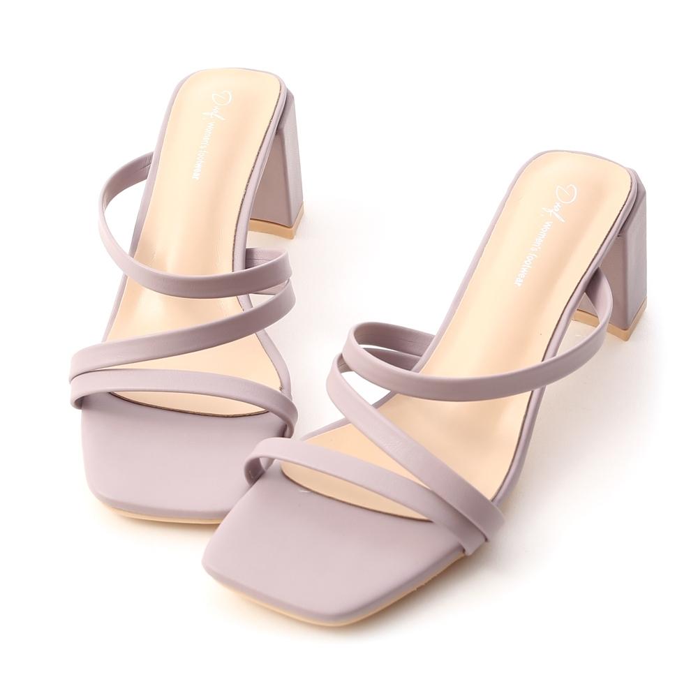 D+AF 夏日焦點.Z字細帶顯瘦高跟涼鞋*紫