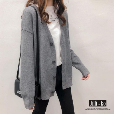 JILLI-KO 氣質OL百搭寬鬆版開襟針織外套- 灰/咖/黑