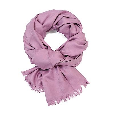 COACH 優雅緹花布面LOGO素色披肩圍巾 紫色