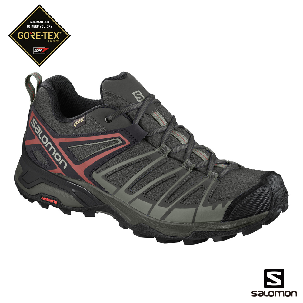 Salomon GORETEX低筒登山鞋 男X ULTRA 3 PRIME黑