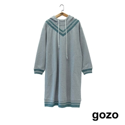 gozo V字條紋連帽洋裝(二色)