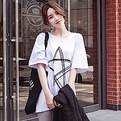 IMStyle 五角星寬松中長款短袖T-SHIRT(白色、灰色)