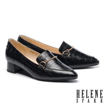 低跟鞋 HELENE SPARK 復古知性鍊條全真皮尖頭低跟鞋-黑