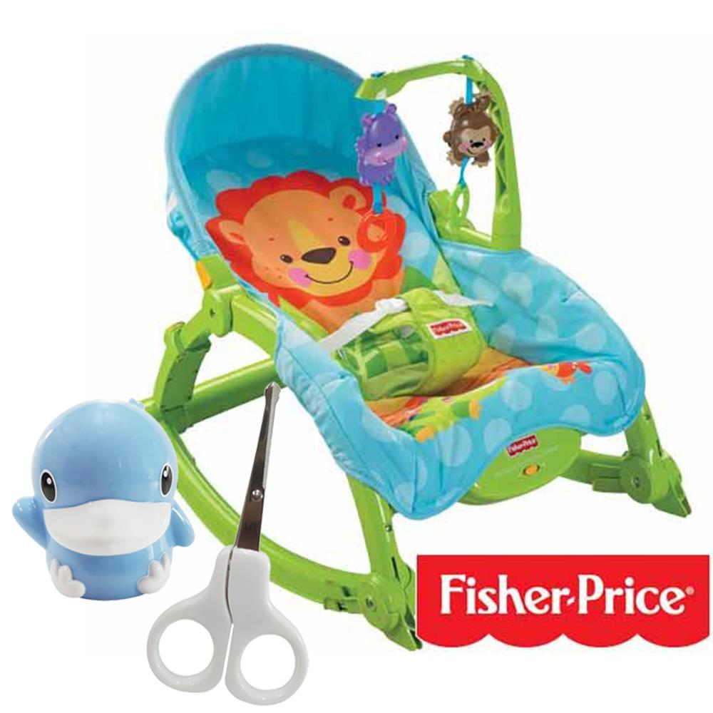 費雪牌 可愛動物可攜式兩用安撫躺椅+酷咕鴨KU.KU. 造型安全剪刀組