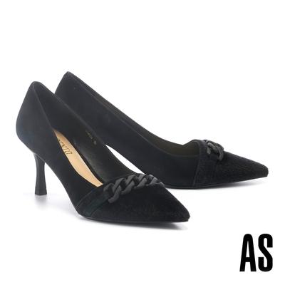 高跟鞋 AS 內斂霧感粗鏈條異材質麂皮尖頭高跟鞋-黑
