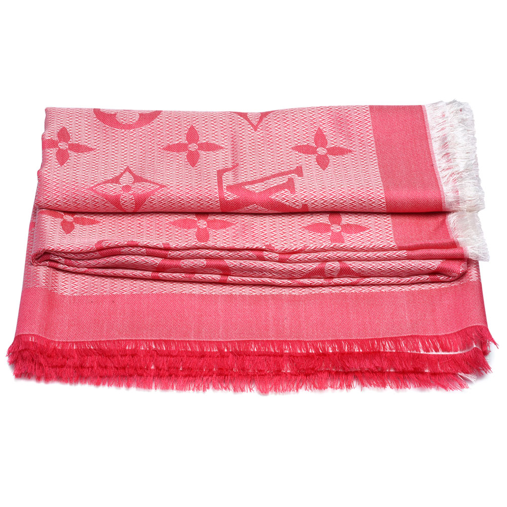 LV M71385經典Beyond Monogram雙色織花羊毛混絲披巾/圍巾(紫紅色)