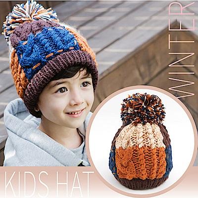 VOSUN 兒童新款 撞色頂級毛球 彈性保暖覆耳毛線帽子_咖啡