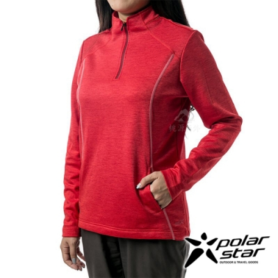 PolarStar 女 立領拉鍊保暖衣『紅』P19266