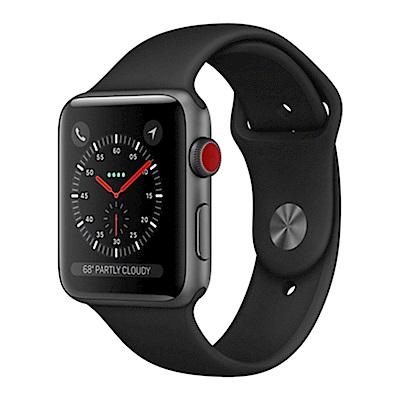Apple Watch S3行動網路38mm太空灰錶殼+黑色錶帶(MQKG2TA/A)