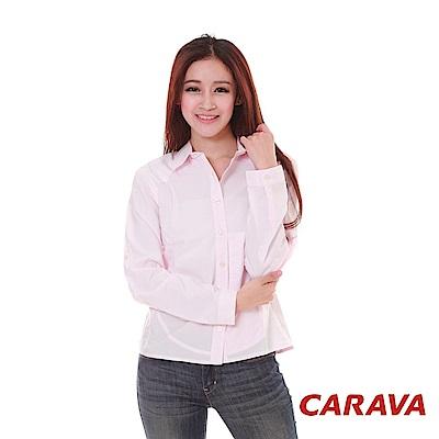 CARAVA《女款日本原紗排汗襯衫》(白底粉紅點)