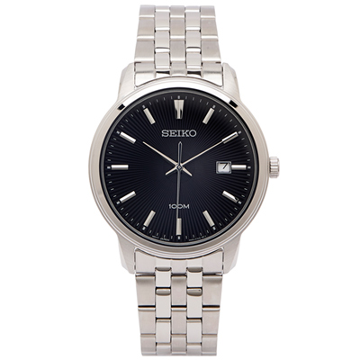 SEIKO 黑色光芒錶盤款的男性手錶 (SUR261P1)-黑面X銀色/42mm