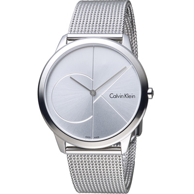 Calvin Klein minimal  大 ck 簡約時尚腕錶(K3M2112Z)銀